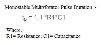 monostable multivibrator pulse duration or pulse width