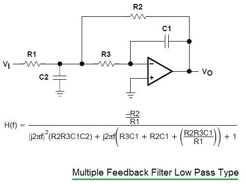 multiple feedback filter low pass type