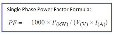 power factor formula single phase