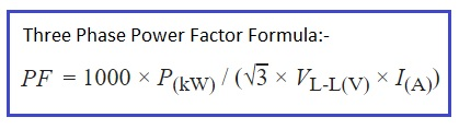 power factor formula three phase