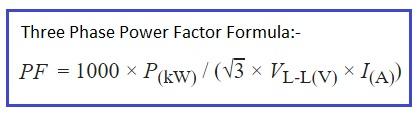 power factor formula three phase