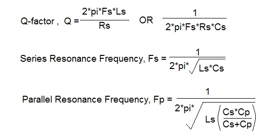 quartz formulas-Q factor,frequency