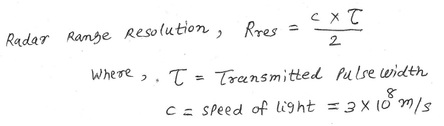 radar range resolution equation
