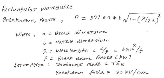 rectangular waveguide breakdown power
