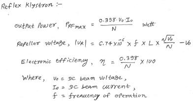 reflex klystron calculator equations