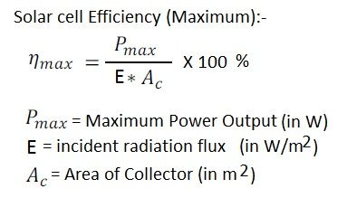Solar cell efficiency formula or equation