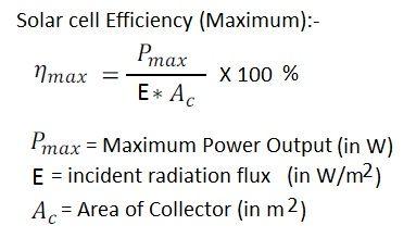 Solar cell efficiency formula or equation