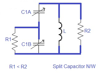 Split capacitor impedance matching