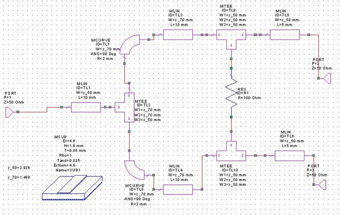 wilkinson rf power splitter circuit